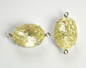 Vintage Jonquil Textured Stones 2 Loop Silver Plated Setting 18x13mm ovl004KK2