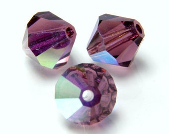 Czech Faceted Amethyst AB Bicone Glass Beads 4mm (50) CZH-00041M