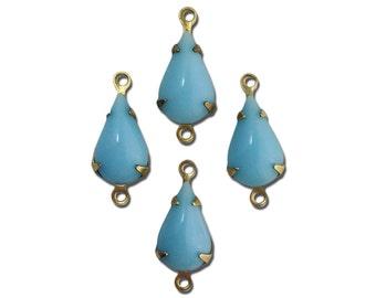 Vintage Opaque Light Blue Glass Teardrop Stone in 2 Loop Brass Setting par003BB2