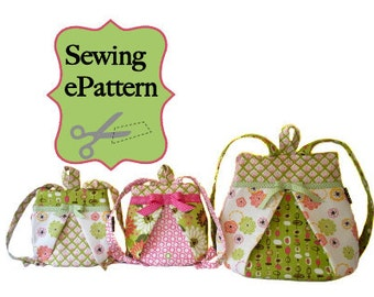 2- PDF Sewing Pattern, Sew Spoiled Mommy and Me Backpack and Scrunchy