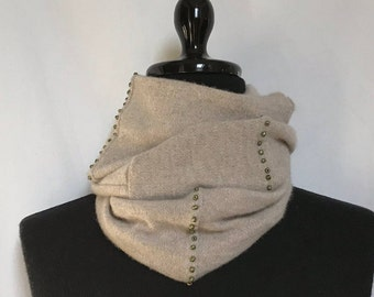 Heathered Beige Infinity Cashmere Scarf made from an Upcycled Sweater