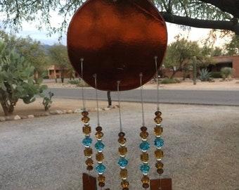 Windchime Amber Glass Suncatcher with Sky Blue