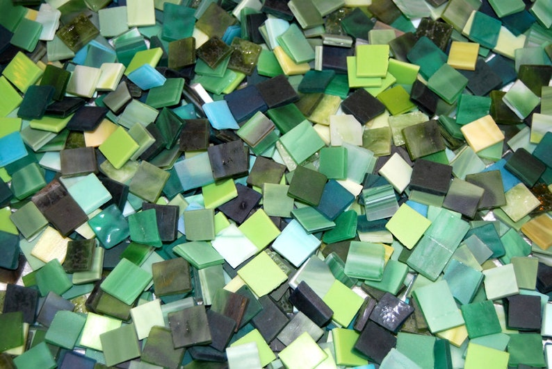 100 12 Inch Green Mix Tumbled Stained Glass Mosaic Tiles