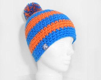 f88784646b0 Pompom Bobble Beanie Bright Blue   Neon Orange Stripey Crochet Bobble  Winter Hat Snowboard Ski Surf Skate