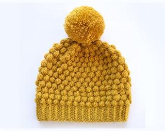 7486f81d1bd6 Pompon bonnet à pompon   Tuque d hiver   moutarde jaune bonnet unisexe bonnet  de ski   laineux chapeau   bonnet à pompon   livraison gratuite