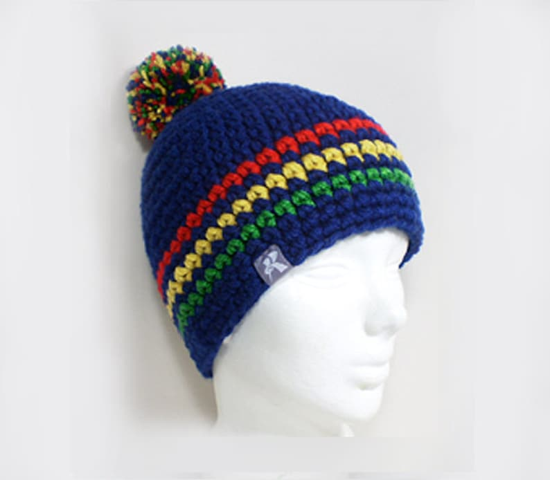 9095e4eb381 Pompom Bobble Beanie Navy BlueRed Yellow   Green Rasta