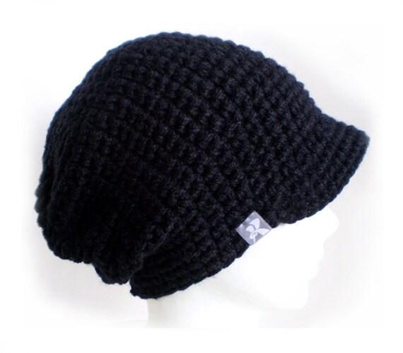 451e08510e2 Peaked Slouchy Floppy Beanie Black Crochet Baggy Winter Hat