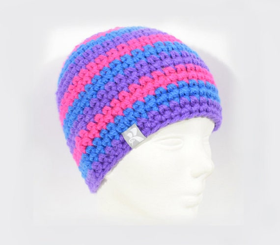 3986075a855 Classic Fit Beanie Bright Blue Hot Neon Pink   Purple