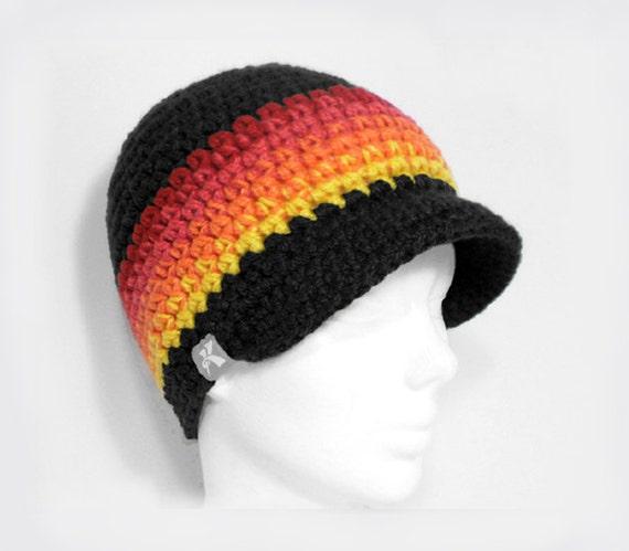 3bfd8279e55 Peaked Beanie - Charcoal   Fire Fade Crochet Winter Peak Newsboy Hat  Snowboard Ski Surf Skate
