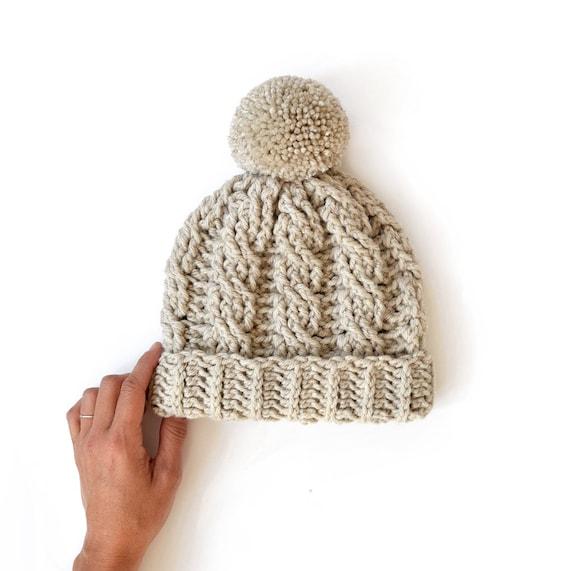 34f2486ac6b Cable Pompom Beanie   Crochet Winter Hat   Neutral Beanie