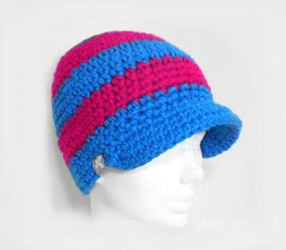 1452bc01673 Peaked Beanie - Bright Blue   Dark Hot Pink Crochet Winter Peak Newsboy Hat  Snowboard Ski Surf Skate