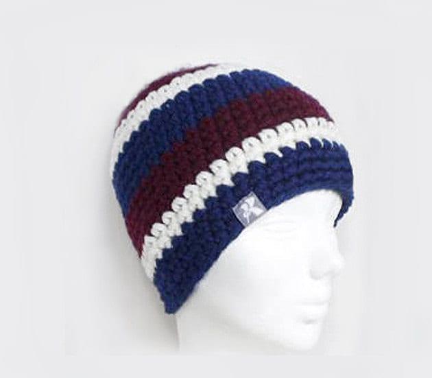 032b6cea6a4 Classic Fit Beanie Navy Blue Burgundy   Off White Crochet