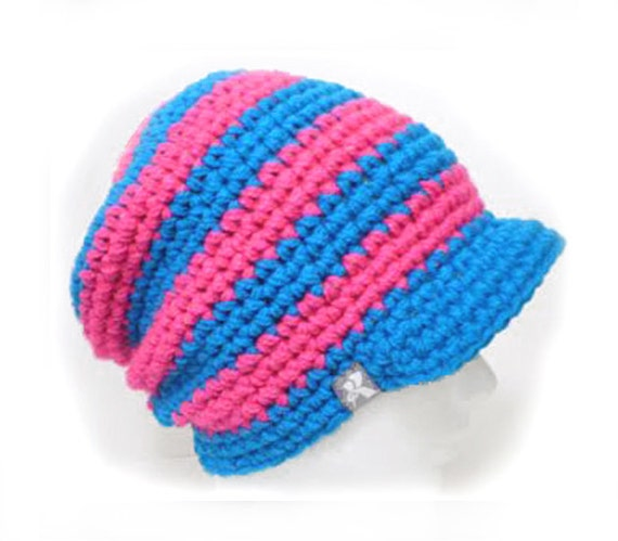 a9860240073 Peaked Slouchy Floppy Beanie - Bright Blue   Hot Neon Pink Crochet Baggy  Winter Hat Snowboard Ski Surf Skate