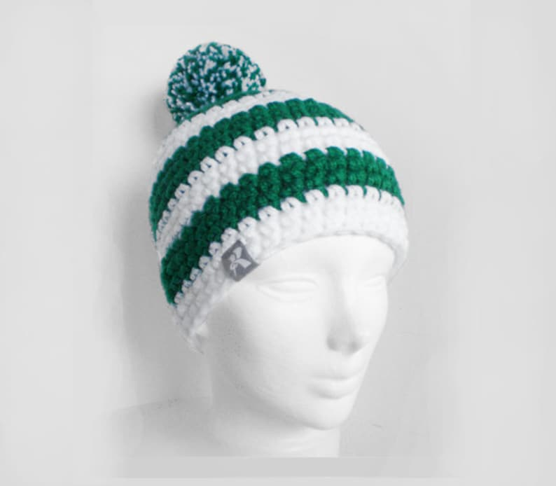 bea3668d49e Pompom Bobble Beanie White   Green Stripey Crochet Winter