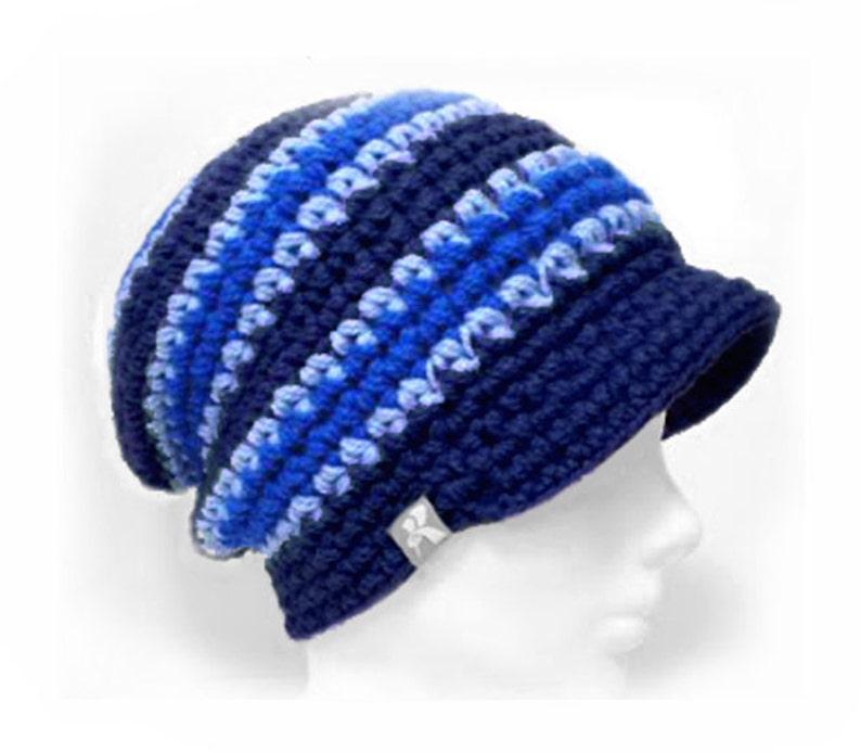 88e610a75aa Peaked Slouchy Floppy Beanie Navy Baby Blue   Blue Stripey