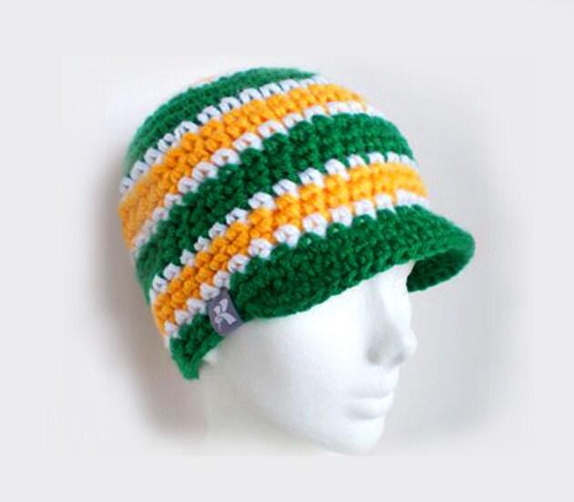 5e581540271 Peaked Beanie Green Yellow   White Crochet Winter Peak