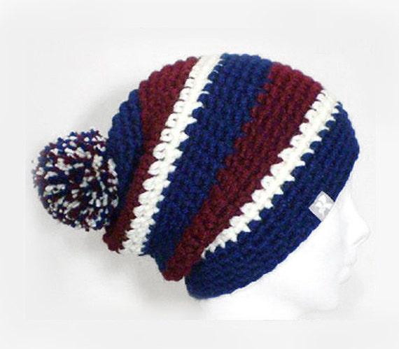 Navy Blue Classic Fit Beanie Grey /& White Stripey Crochet Fitted Winter Hat Snowboard Ski Surf Skate