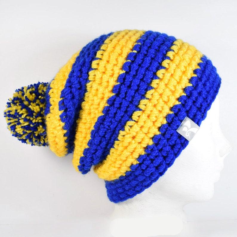 57ebbe0636a Slouchy Pompom Beanie Royal Blue   Yellow Stripey Crochet