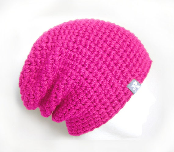 a1d09d2f6b2 Slouchy Floppy Beanie Hot Neon Pink Warm Crochet Winter Hat