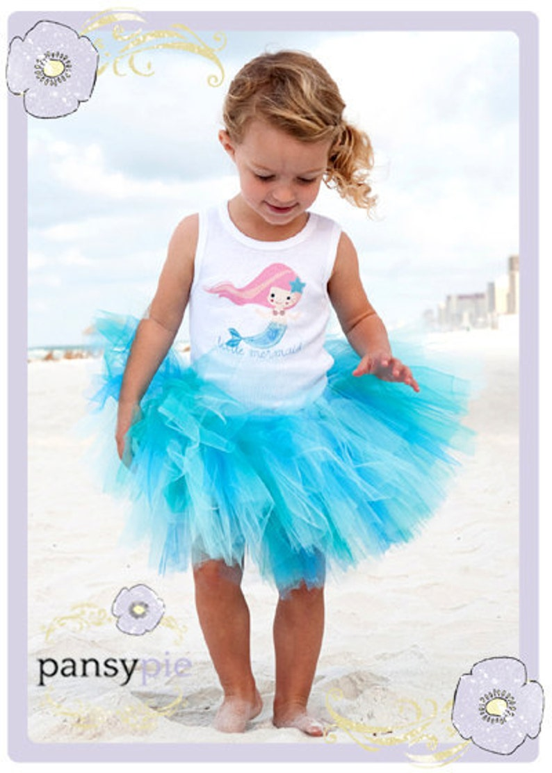 9d0357642 Girls Little Mermaid Shirt And Tutu Skirt For Kids. Outfit