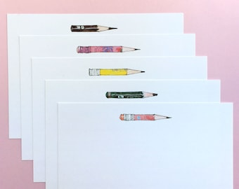"""Blank Pencil Notecards - Set of 5, 7"""" x 5"""""""