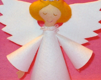 Nine Inch Felt Tree Top Angel