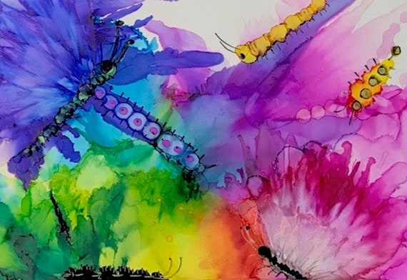 Bugs And Butterfly S Alcohol Ink Print On Glossy Photo Paper Print 11x14 Colorful Art Print Butterfly Painting