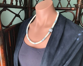 Opal and Blue Lace Agate Necklace   Natural Untreated Gemstones   Hand Carved Bead   American Mined Oregon Owyhee Blue Opal   White Opal