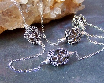 Rosary Necklace with Smoky Quartz Beads   Delicate Bali Silver Filigree Station Necklace   Lacy Rosary Chain Necklace   Feminine Jewelry