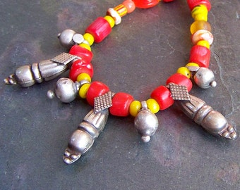 Ethnic Necklace   Antique High Grade Silver Pendants   Red Coral, Yellow Trade Bead Necklace   Eclectic Beaded Jewelry   Tribal Silver
