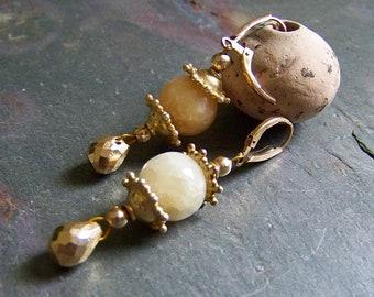 Chinese Lantern Earrings Leverback   Golden Pyrite and Honey Calcite Glowing Gemstone Earrings Asian   Gold Drop Earrings   Vermeil Jewelry