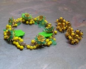 Dandelion Anklet Floral Ankle Bracelet Dandelion Earring Jewelry Set Lucite and Vintage Enameled Flowers on Adjustable Chain