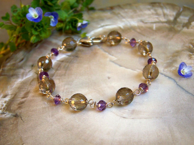 Smoky Quartz and Amethyst Bracelet With Sterling Silver Links image 0