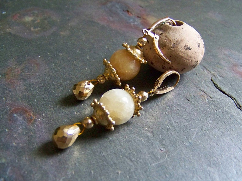 Chinese Lantern Earrings Leverback  Golden Pyrite and Honey image 0