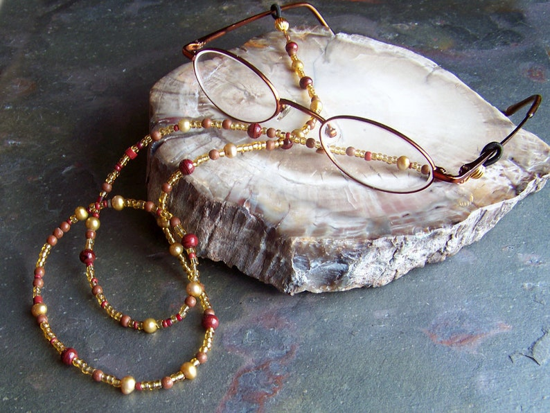 Reading Glasses Chain  Gold Beaded Spectacles Chain  Antique image 0
