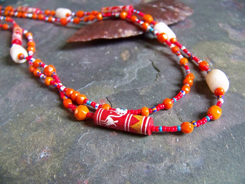 Tribal Bird Necklace  Painted Pottery Bead and Ancient image 0