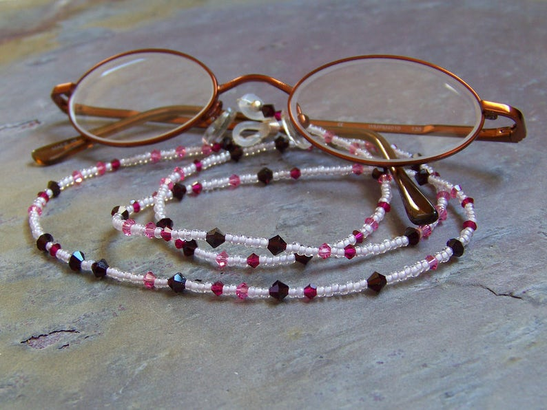 Crystal Eyeglass Chain  Eye Glasses Lanyard in Ice Pink And image 0