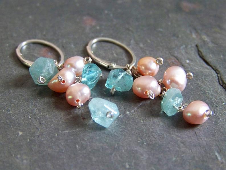 Pink Pearl Earrings with Ocean Blue Apatite  Gemstone Cluster image 0