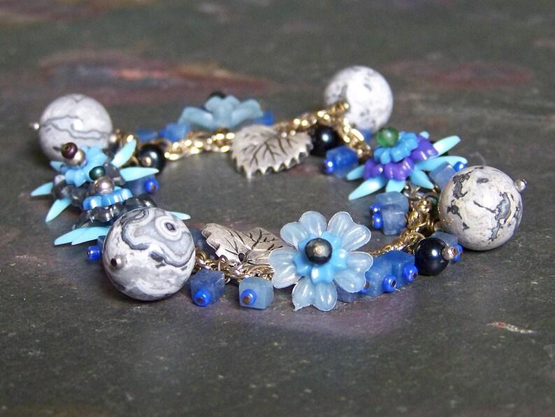 Silver and Blue Flower Bracelet  Floral Charm Bracelet with image 0