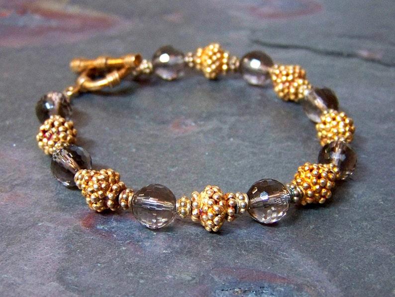 Gemstone Bracelet  Bali Vermeil with Smoky Quartz  Gold and image 0