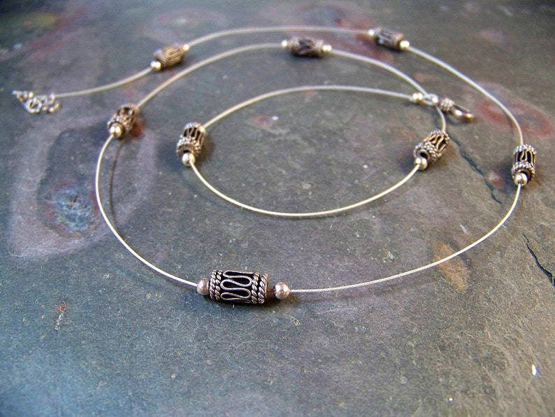 Long Silver Necklace with Bali Bead Drums  Floating Bead image 0
