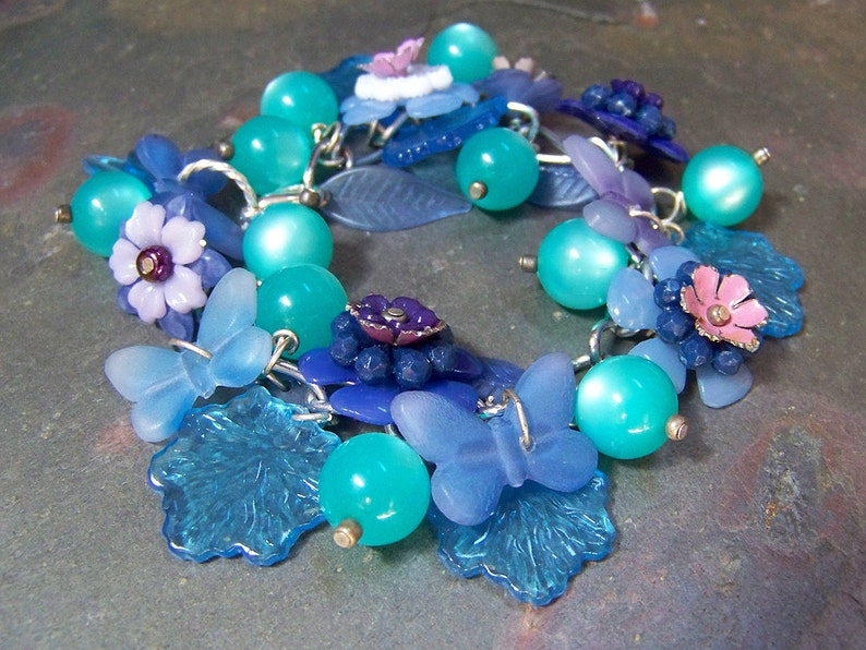 Blue Morpho Butterfly Bracelet  Upcycled Plastic and Metal image 0