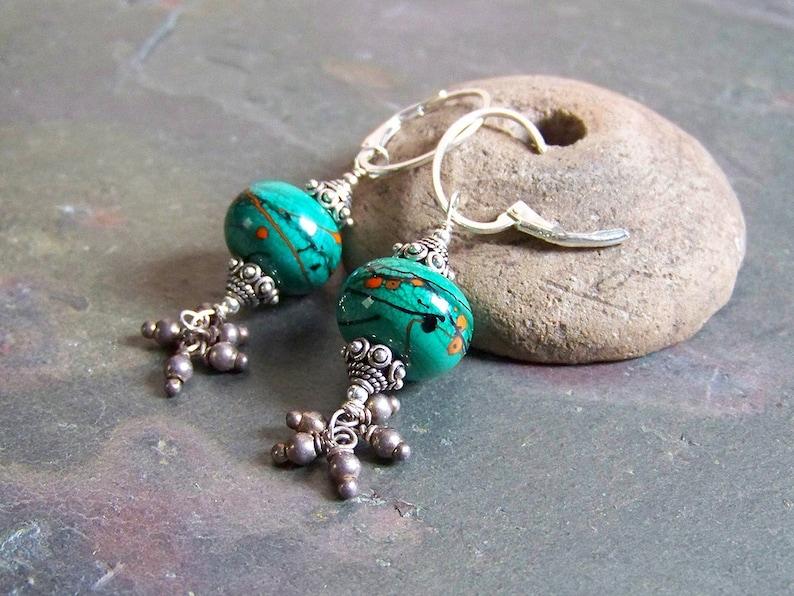 Boho Tassel Earrings  Mexican Jewelry  Orange and Green  image 0