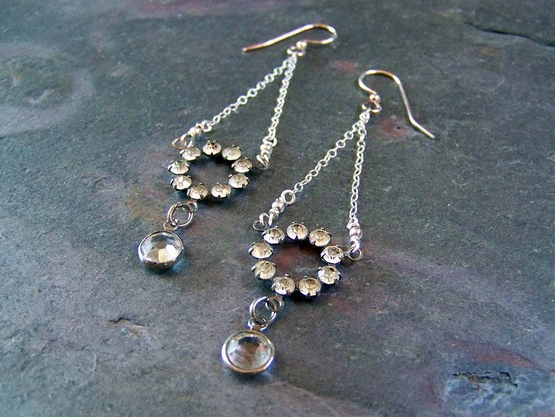 Antique Rhinestone Earrings with Crystal Drops  Sterling image 0