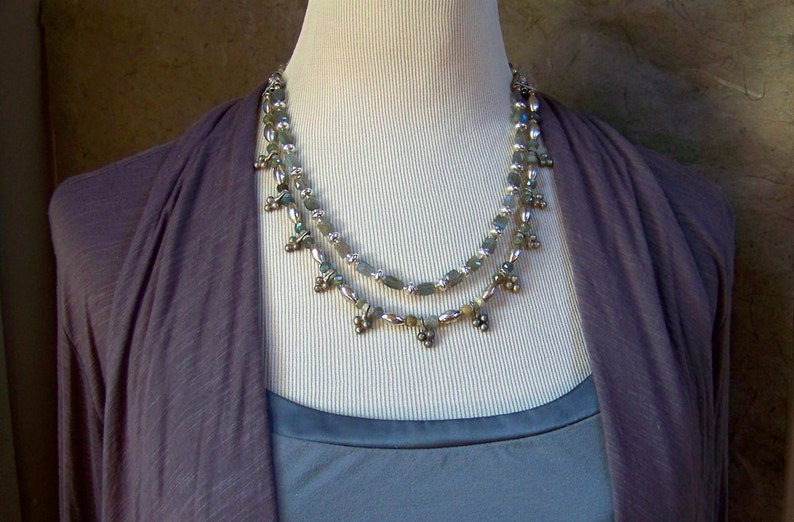 Labradorite Necklace with Moroccan Charms  Old Tribal Silver image 0