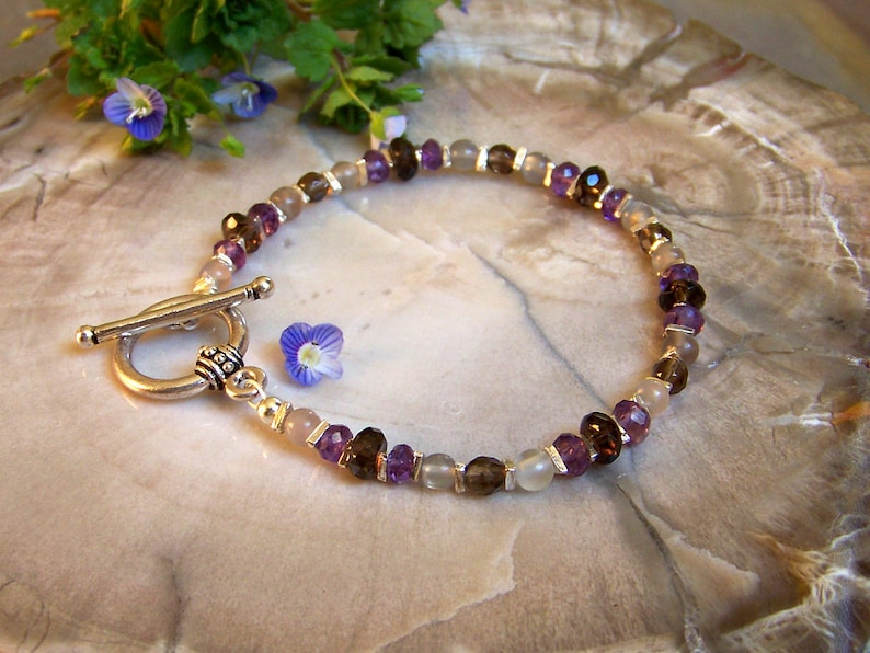 Moonstone Bracelet with Bali Toggle Clasp  Smoky Quartz and image 0