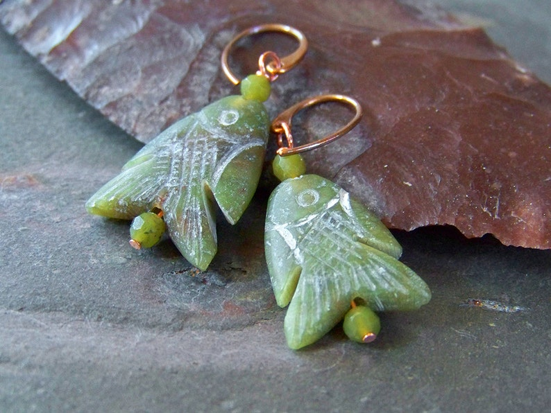 Stone Fish Earrings  Natural Serpentine Jewelry  Simple image 0