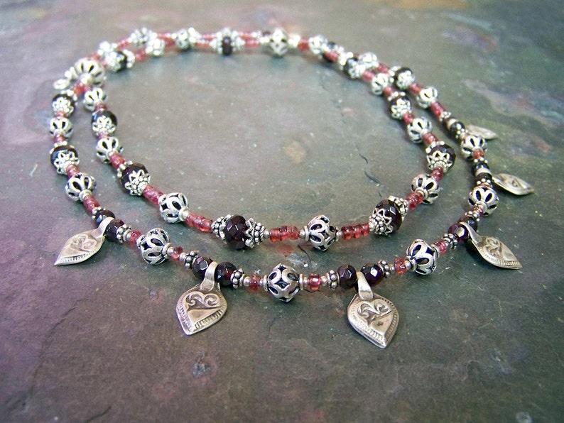 Tribal Silver Necklace  OOAK Garnet Heart Necklace  Antique image 0