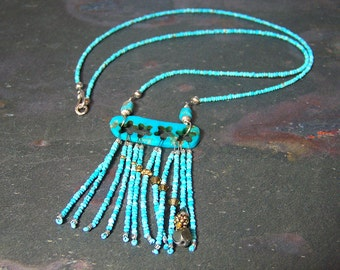Falling Star Pendant   Pyrite Comet Necklace   Real Turquoise   Southwestern Beadwork Art Jewelry   Sleeping Beauty Turquoise Meteor Pendant