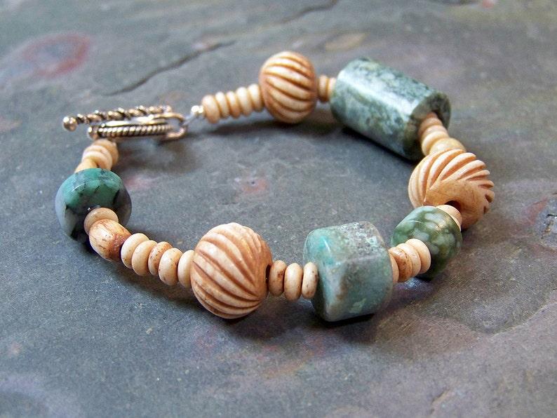 Real Jade Bracelet Boho Chic  Carved Bone and Mottled Green image 0